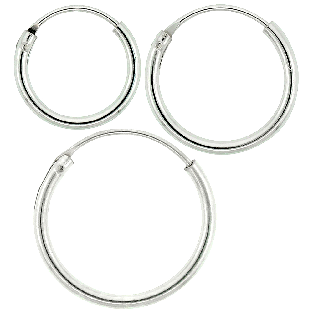 Sterling Silver 10mm 12mm & 14mm Small Endless Hoop Earrings Set