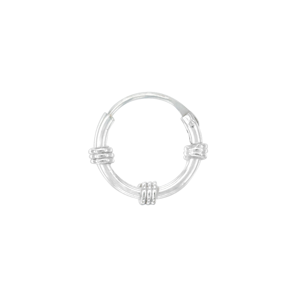 10 Pairs Sterling Silver Small Bali Style Endless Hoop Earrings for Cartilage, Nose and lips, 3/8 inch wide