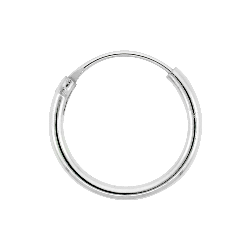 10 Pairs Sterling Silver Endless Hoop Earrings for Ears, Nose and lips 1/2 inch wide