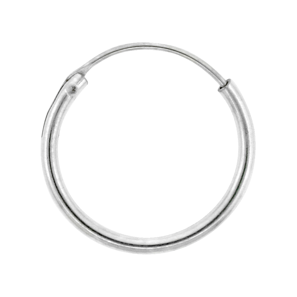 Sterling Silver Endless Hoop Earrings for men and women, thin 1 mm tube 1/2 inch wide
