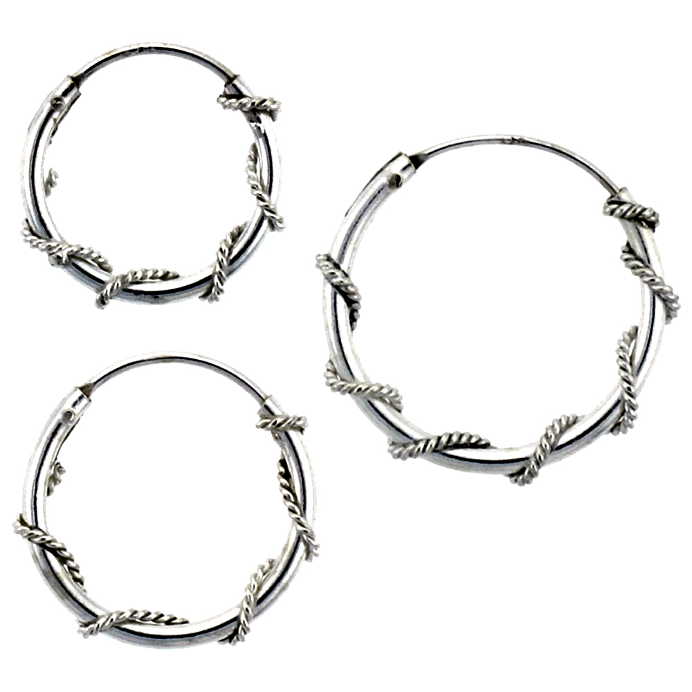 Sterling Silver 14mm, 16mm & 18mm Rope Wire Wrapped Endless Hoop Earrings 3 pair Set