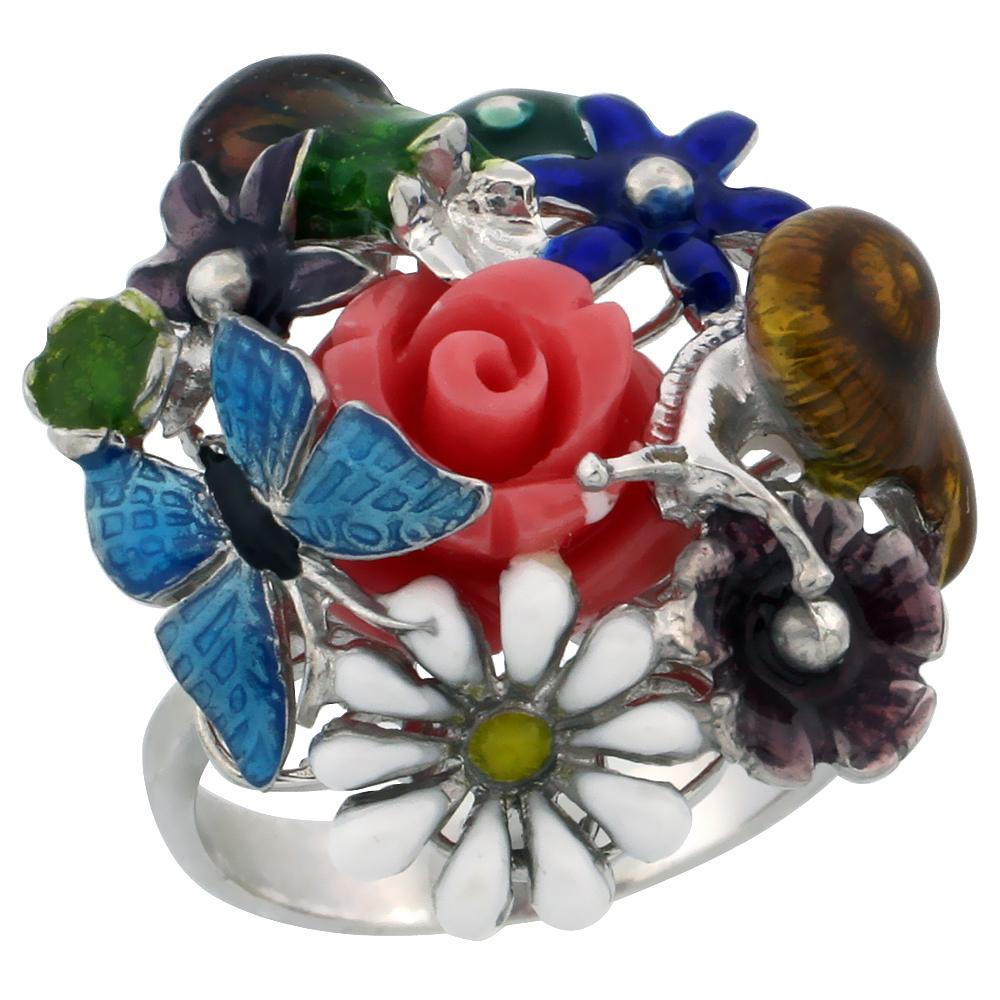 Sterling Silver Multi Color Enamel Butterfly & Flowers Ring, 15/16 in. (24 mm) wide