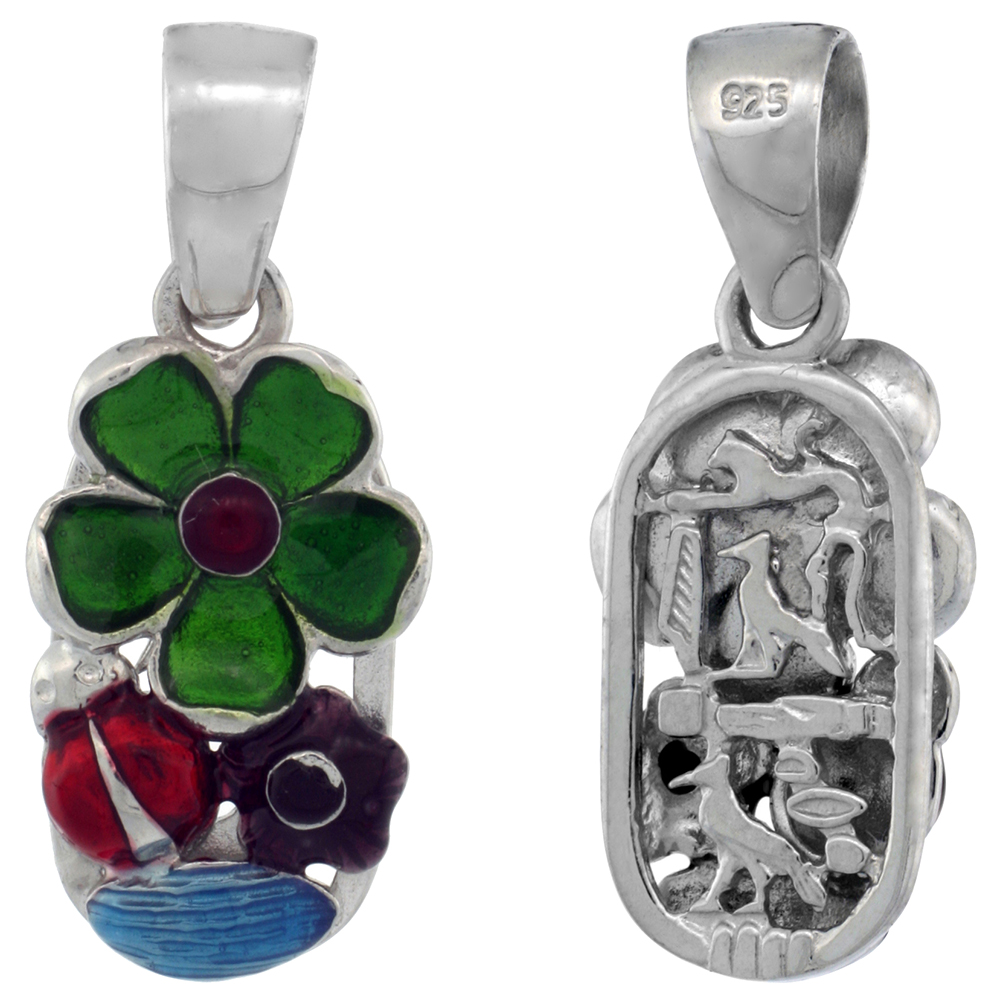 Sterling Silver Multi Color Enamel Lady Bug & Flowers Pendant, 13/16 in. (21 mm) tall