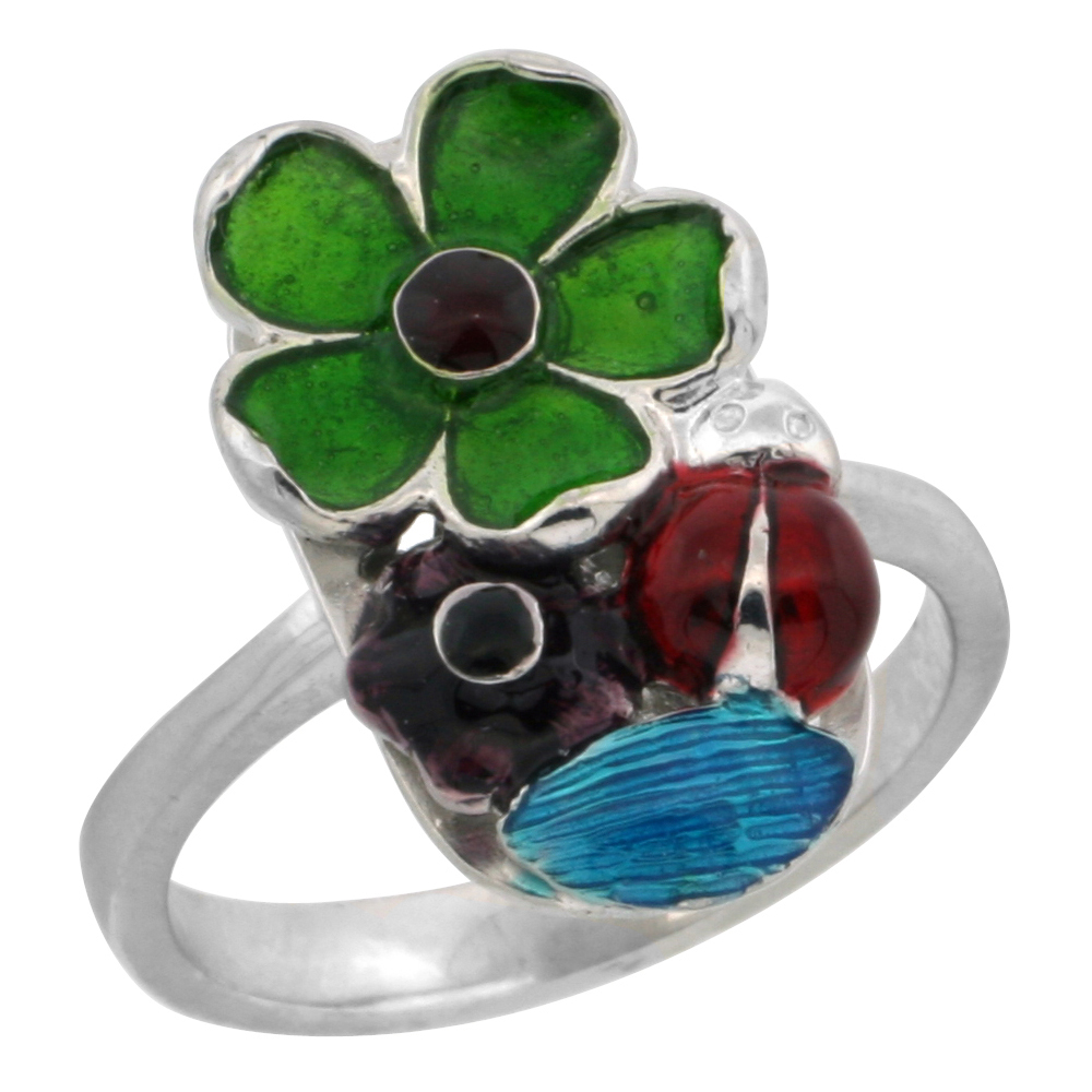 Sterling Silver Multi Color Enamel Lady Bug & Flowers Ring, 3/4 in. (18 mm) wide
