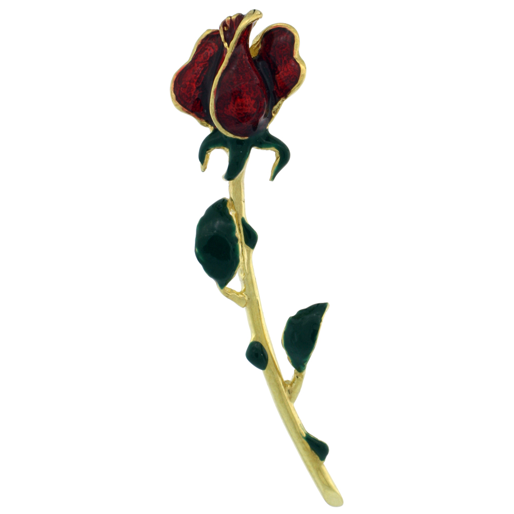 Sterling Silver Enameled Red Rose Pendant (Gold Finish), 1 5/8 in. (41 mm) tall