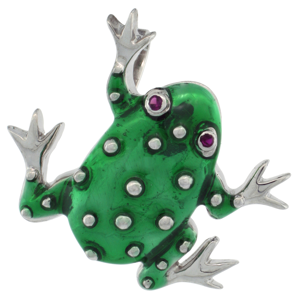 Sterling Silver Green Enamel Frog Pendant, 1 1/8 in. (29 mm) tall