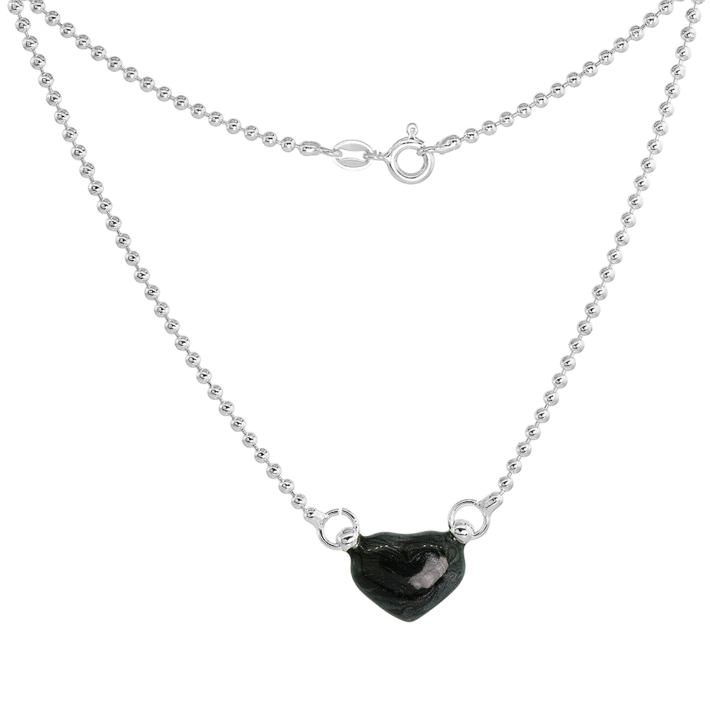 Sterling Silver Black Enamel Heart Necklace for Women and Girls, 18 inch long
