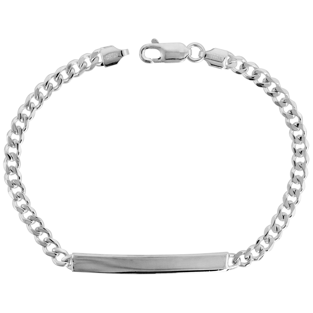 Sterling Silver ID Bracelet Curb Link Dainty 3/16 inch wide Nickel Free Italy, sizes 7 - 8 inch