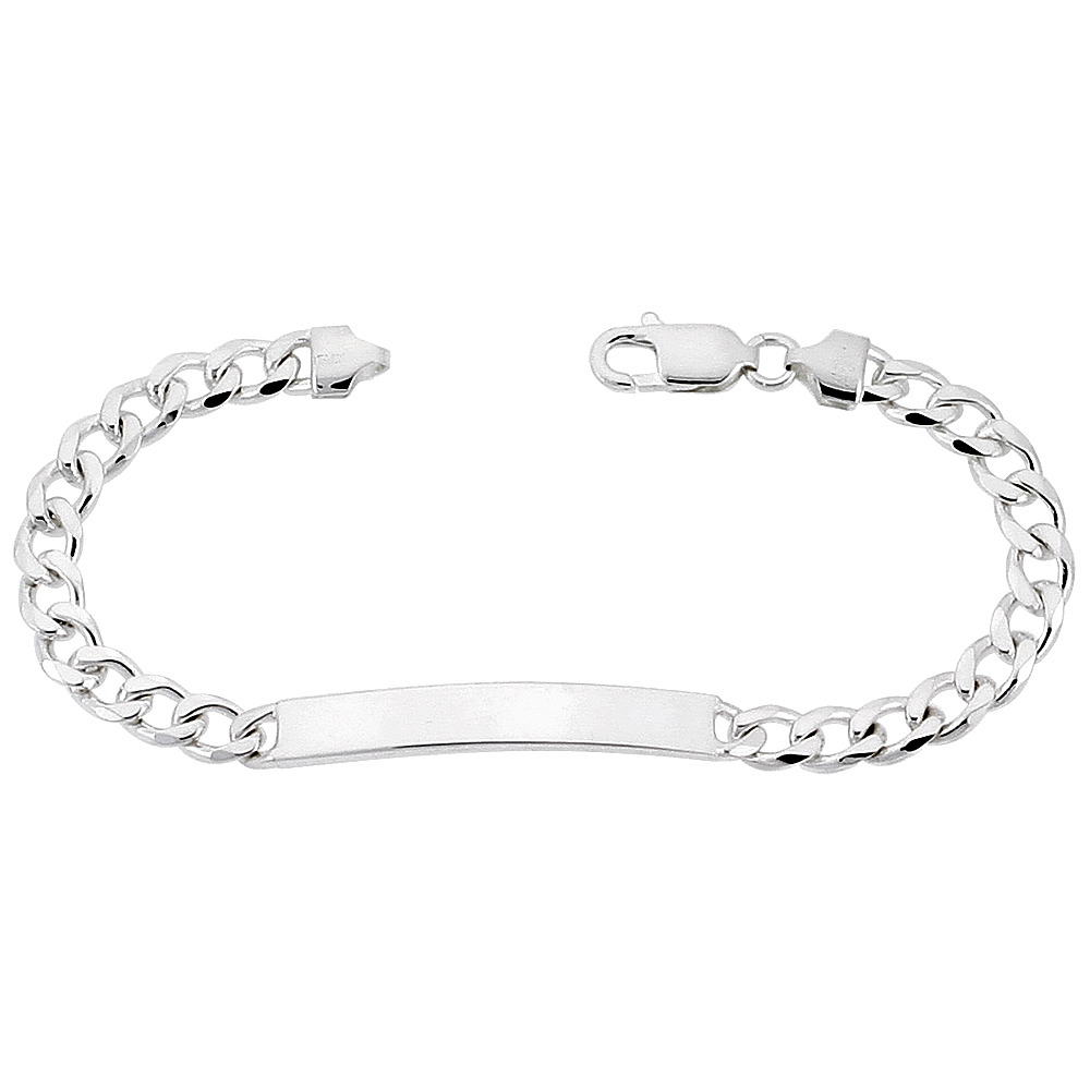 Sterling Silver Id Bracelet Curb Link 1 4 Inch Wide Nickel Free Italy Sizes 7 9