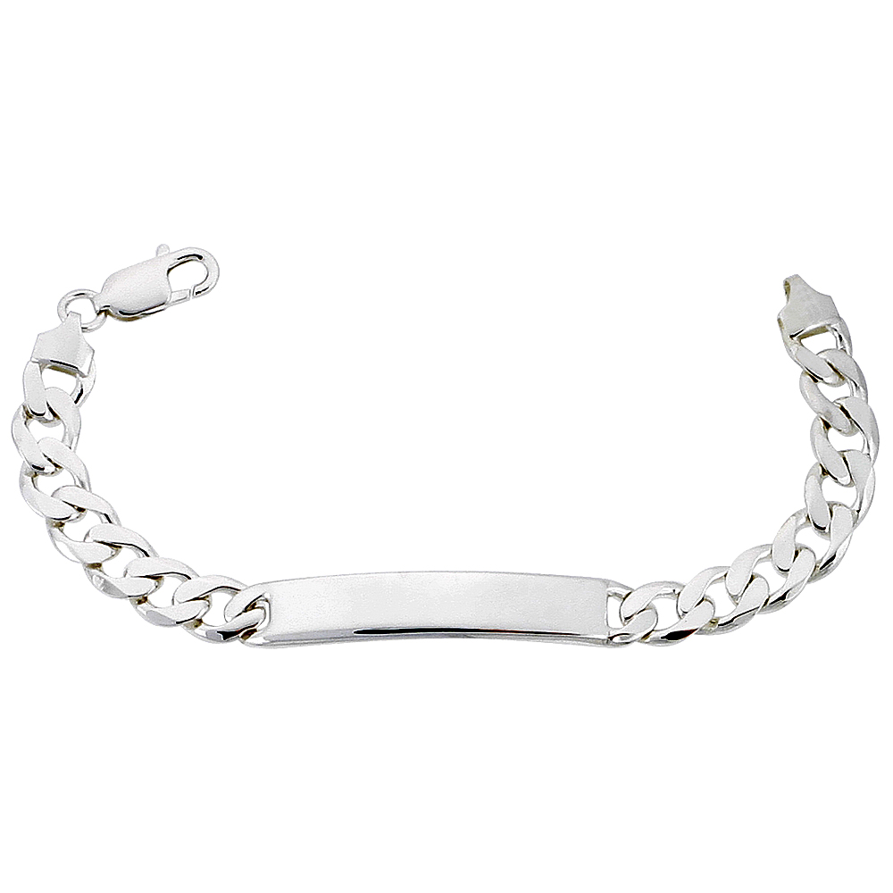 Sterling Silver ID Bracelet Curb Link 5/16 inch wide Nickel Free Italy, sizes 7 - 9 inch