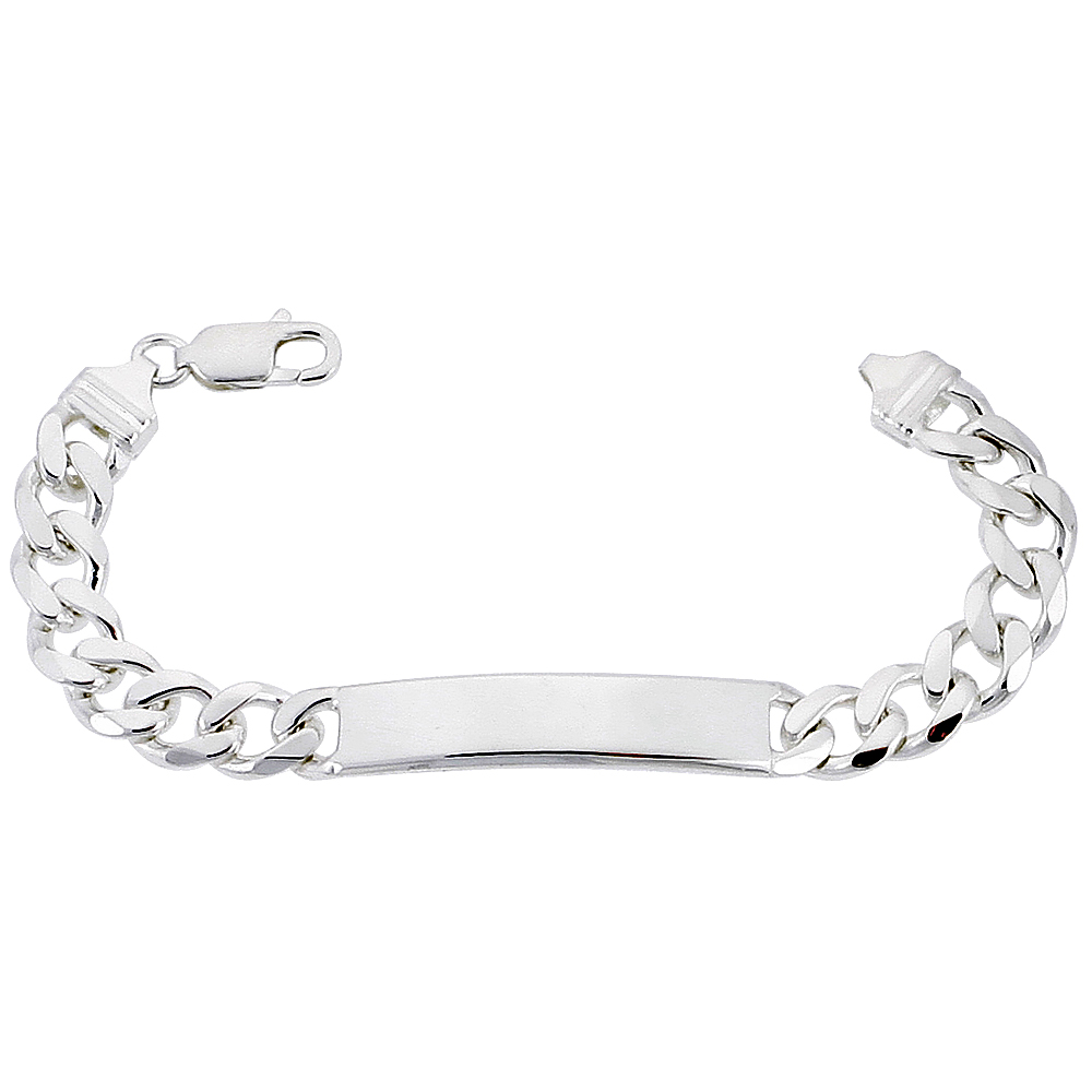 Sterling Silver ID Bracelet Curb Link 3/8 inch wide Nickel Free Italy, sizes 7 - 9 inch