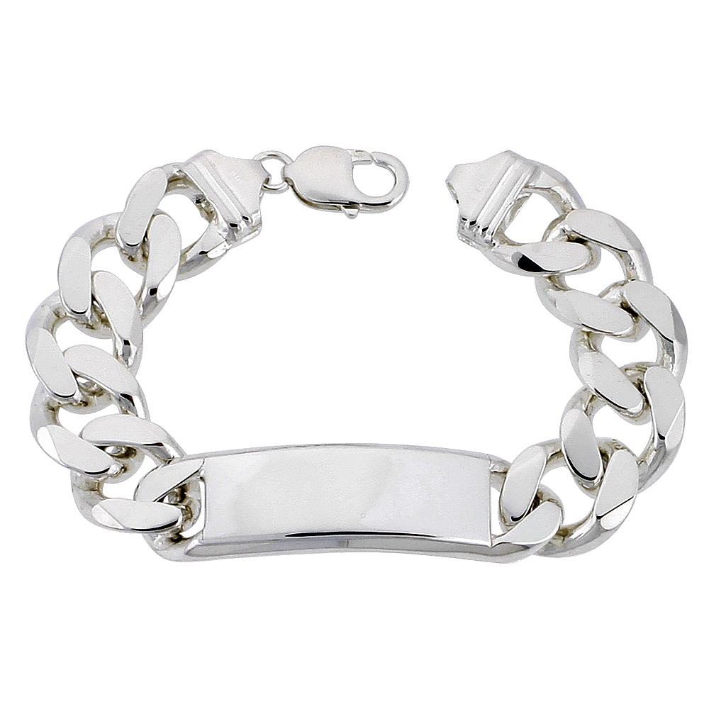 Sterling Silver ID Bracelet Curb Link Very Heavy 5/8 inch wide Nickel Free Italy, sizes 8 - 9 inch