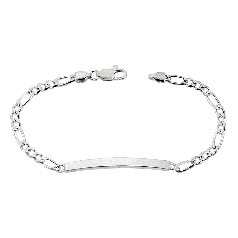 Sterling Silver ID Bracelet Figaro Link Dainty 3/16 inch wide Nickel Free Italy, sizes 7 - 8 inch