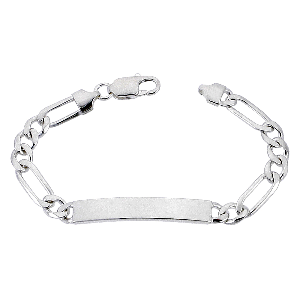 Sterling Silver ID Bracelet Figaro Link 1/4 inch wide Nickel Free Italy, sizes 7 - 9 inch