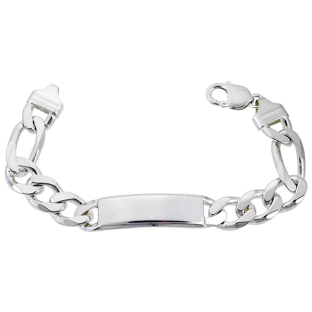 Sterling Silver ID Bracelet Figaro Link Heavy 1/2 inch wide Nickel Free Italy, sizes 8 -9 inch