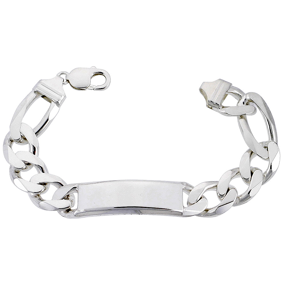Sterling Silver ID Bracelet Figaro Link Very Heavy 9/16 inch wide Nickel Free Italy, sizes 8 -9 inch