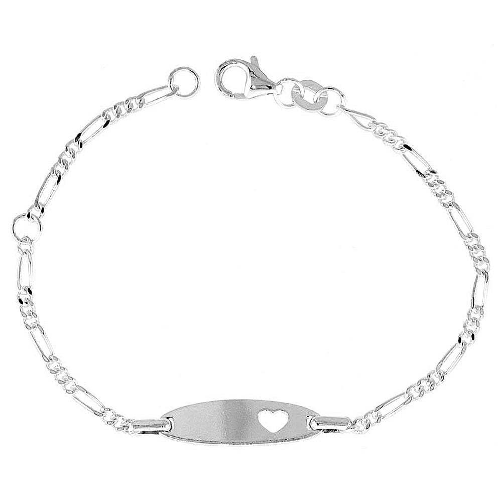 Sterling Silver Childrens ID Bracelet Figaro link fits baby sizes 5 - 6 inch long