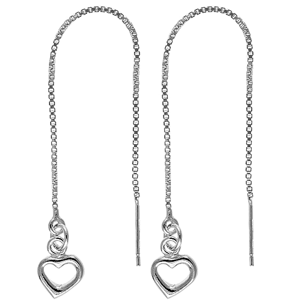 Sterling Silver Dangle Heart Threader Earrings for Women Italy 4 1/4 inch long