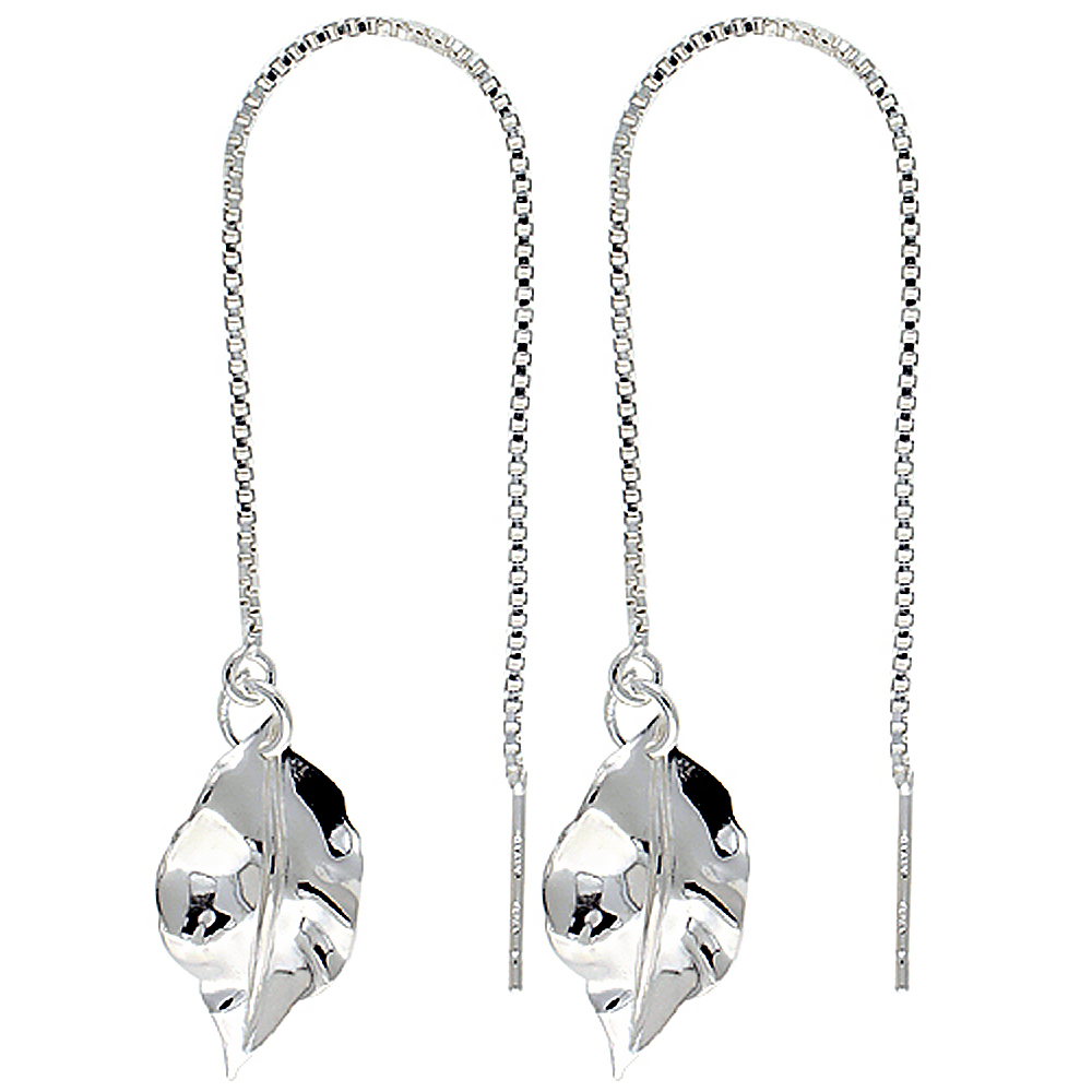 "Sterling Silver Italian Threader Earrings with Leaf drop total length 4 1/2"" Long"