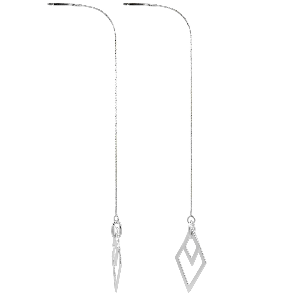 Sterling Silver Dangle Diamond shape Rhombus Threader Earrings for Women Italy 4 1/2 inch long