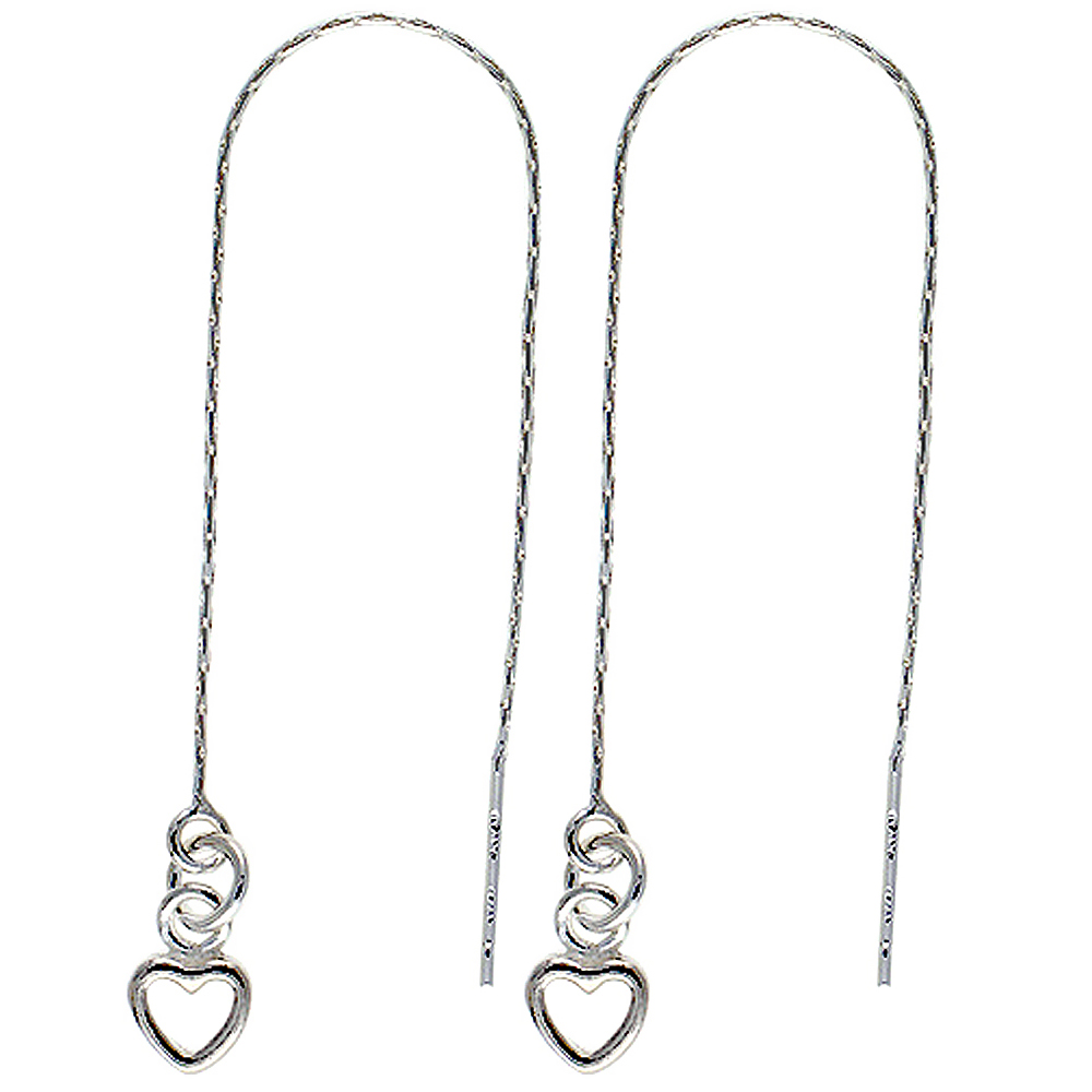 Sterling Silver Threader Earrings Open Heart Dangle 4 1/2 inch long