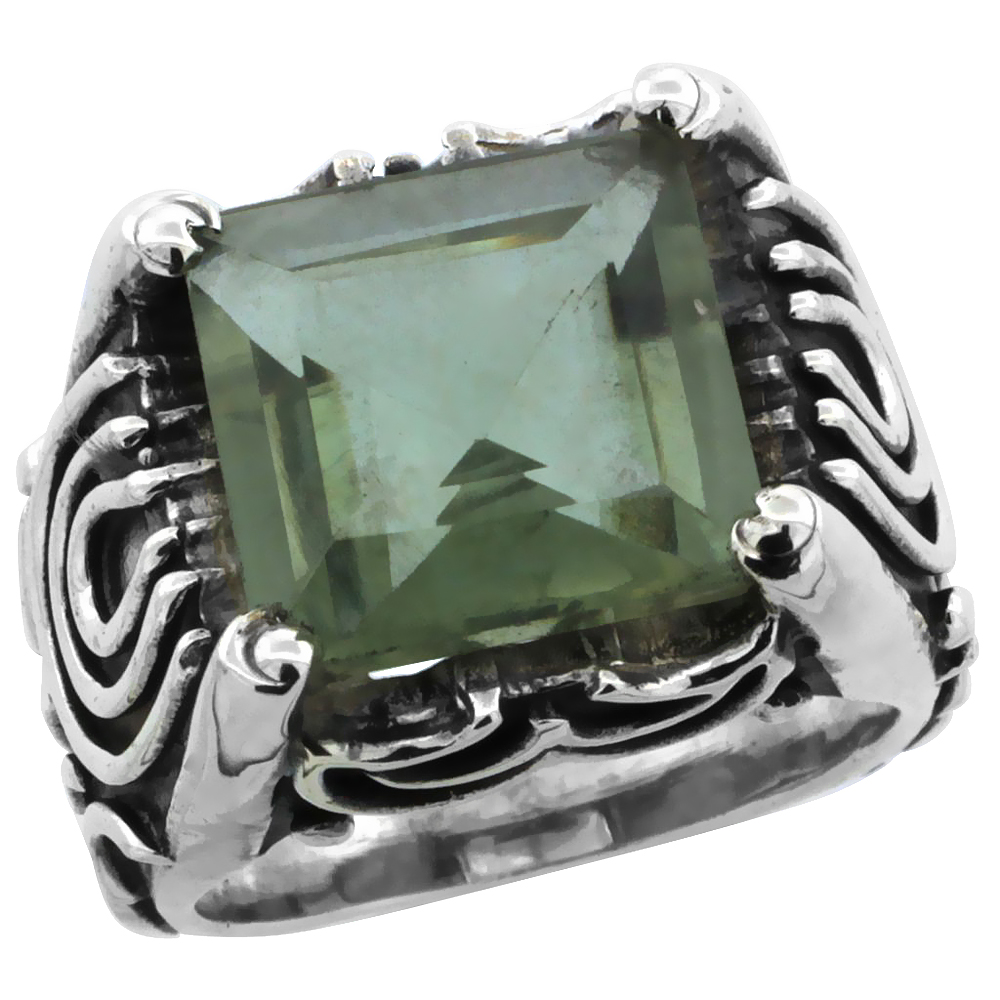 Sterling Silver Bali Inspired Horseshoe Design Square Ring w/ 12mm Princess Cut Natural Green Amethyst Stone, 19/32 in. (15 mm) wide