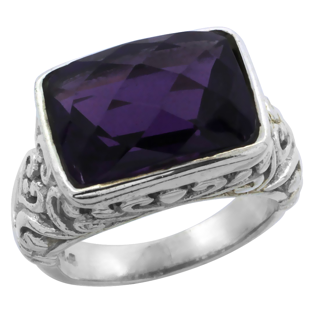Sterling Silver Bali Inspired Rectangular Filigree Ring w/ 14x10mm Checkerboard Cut Natural Amethyst Stone, 15/32 in. (12 mm) wi