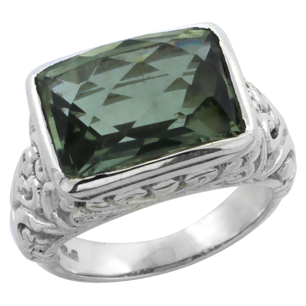 Sterling Silver Bali Inspired Rectangular Filigree Ring w/ 14x10mm Checkerboard Cut Natural Green Amethyst Stone, 15/32 in. (12