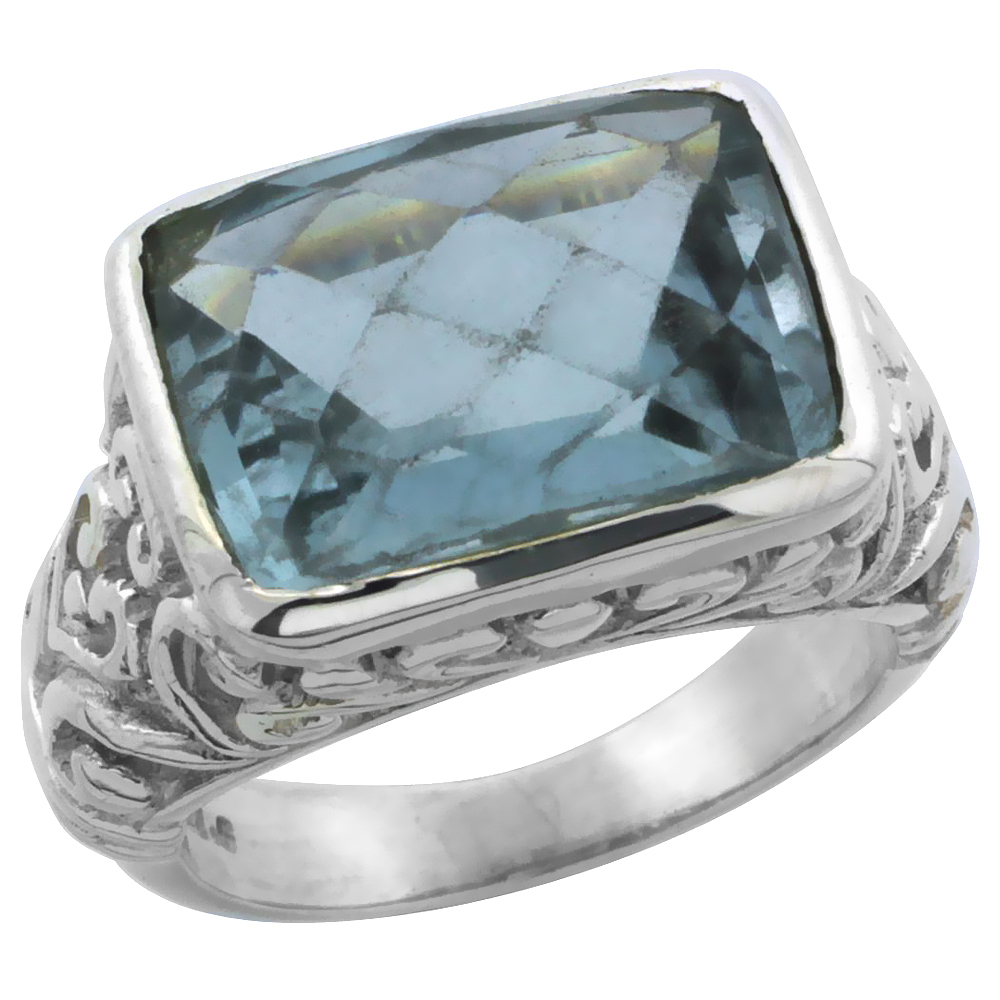 Sterling Silver Bali Inspired Rectangular Filigree Ring w/ 14x10mm Checkerboard Cut Natural Blue Topaz Stone, 15/32 in. (12 mm) wide