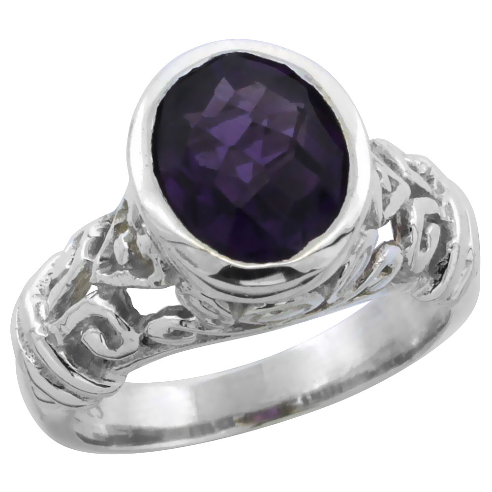 Sterling Silver Bali Inspired Oval Filigree Ring w/ 10x8mm Oval Cut Natural Amethyst Stone, 15/32 in. (12 mm) wide