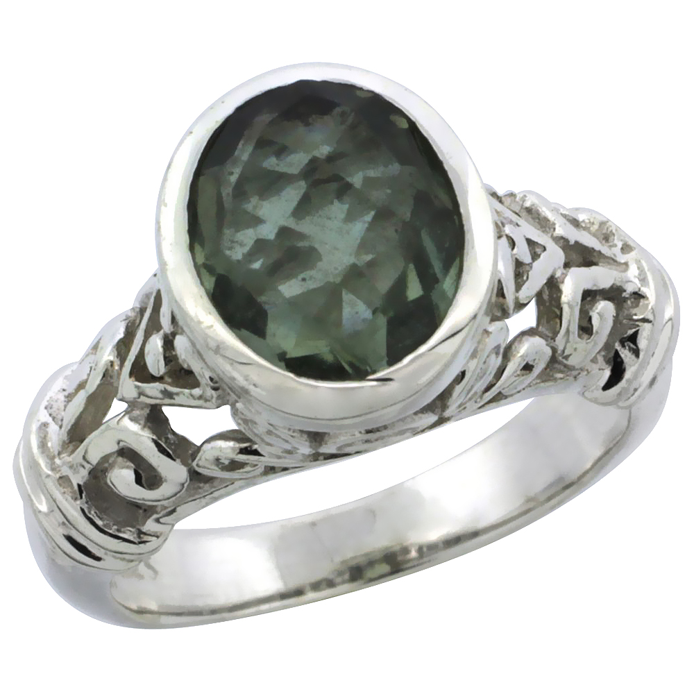 Sterling Silver Bali Inspired Oval Filigree Ring w/ 10x8mm Oval Cut Natural Green Amethyst Stone, 15/32 in. (12 mm) wide
