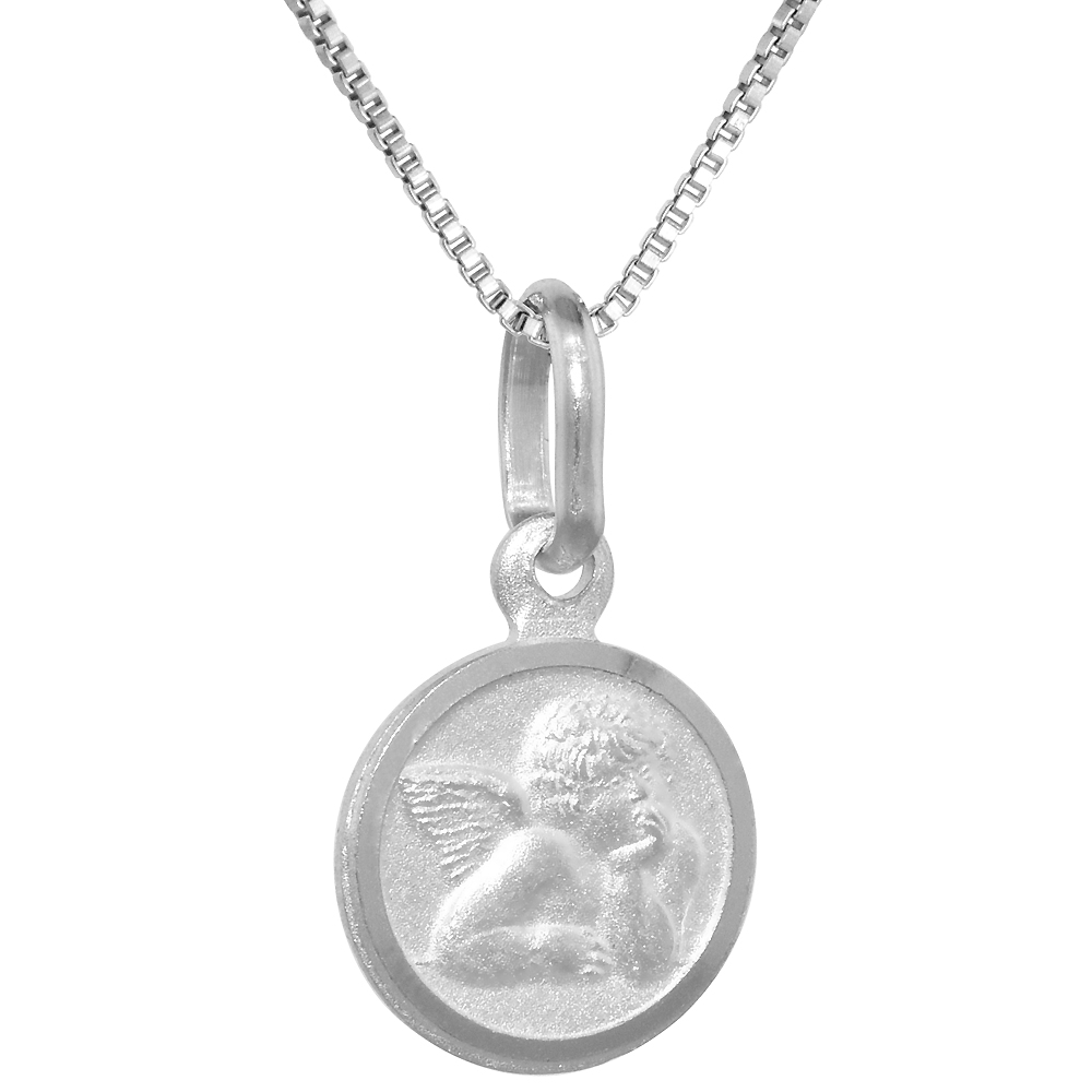 Very Tiny Sterling Silver Guardian Angel Medal Necklace 3/8 inch Round Italy, 16-30 inch 0.8mm_Box_Chain