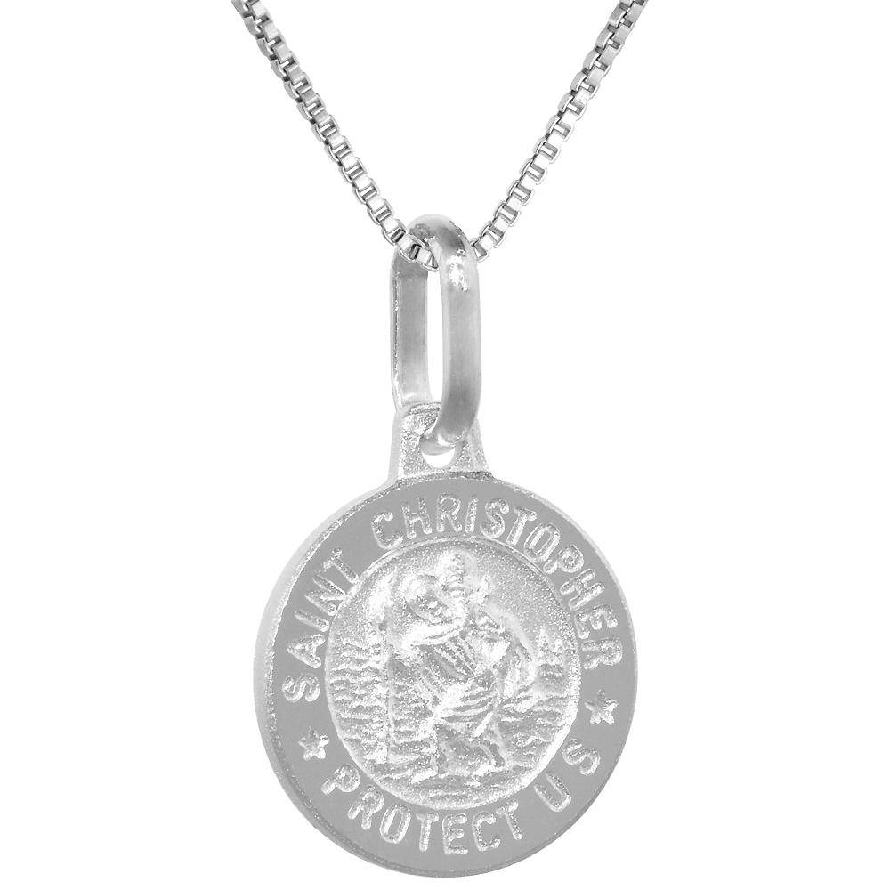 Dainty Sterling Silver St Christopher Medal Necklace 1/2 inch Round Italy, 0.8mm Chain