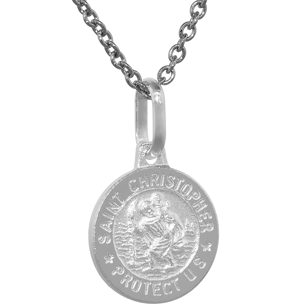 Dainty Sterling Silver St Christopher Medal Necklace 1/2 inch Round Italy
