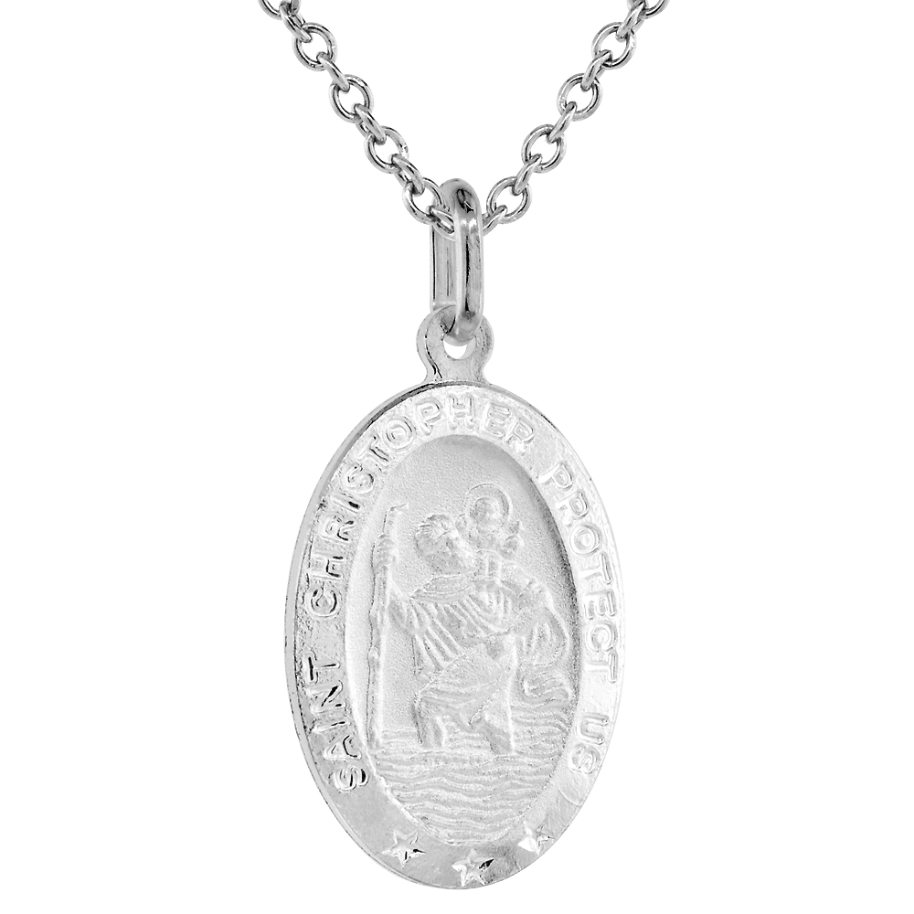 Sterling Silver St Christopher Medal Necklace 7/8 inch Oval Italy