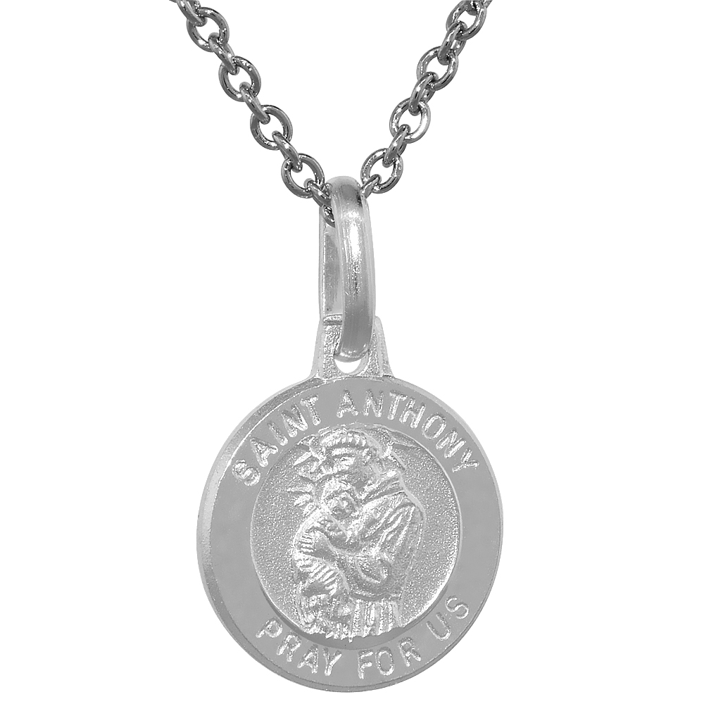 Dainty Sterling Silver St Anthony Medal Necklace 1/2 inch Round Italy,