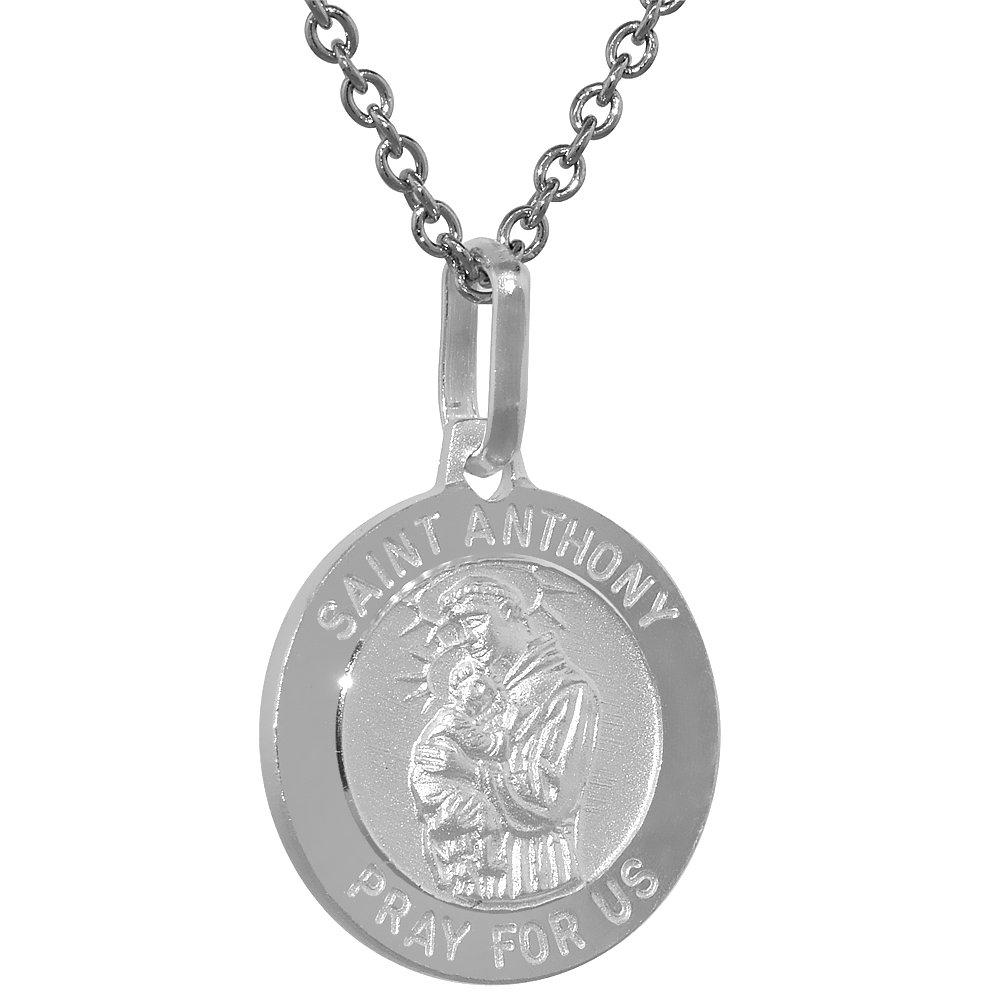 Dainty Sterling Silver St Anthony Medal Necklace 5/8 inch Round Italy,