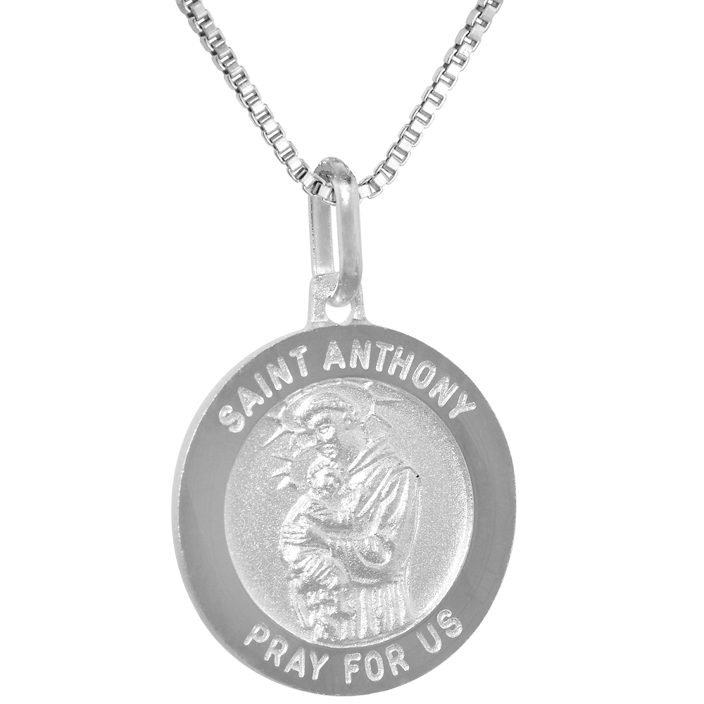 Sterling Silver St Anthony Medal Necklace 3/4 inch Round Italy, 0.8mm Chain