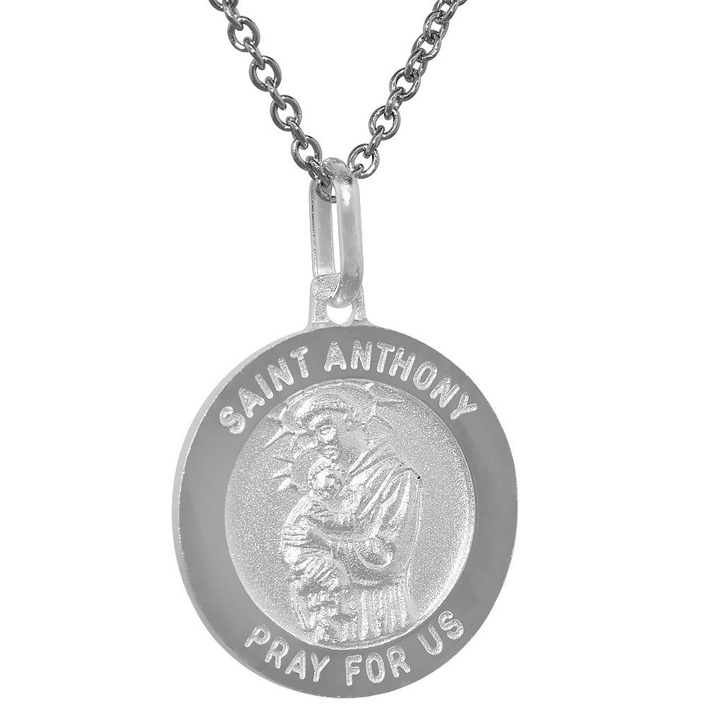 Sterling Silver St Anthony Medal Necklace 3/4 inch Round Italy,