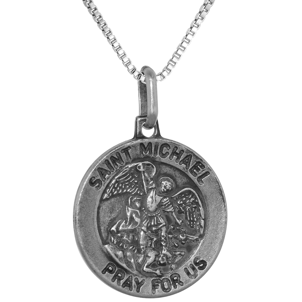 Sterling Silver St Michael Medal Necklace 3/4 inch Round Antiqued Finish Italy, 0.8mm Chain