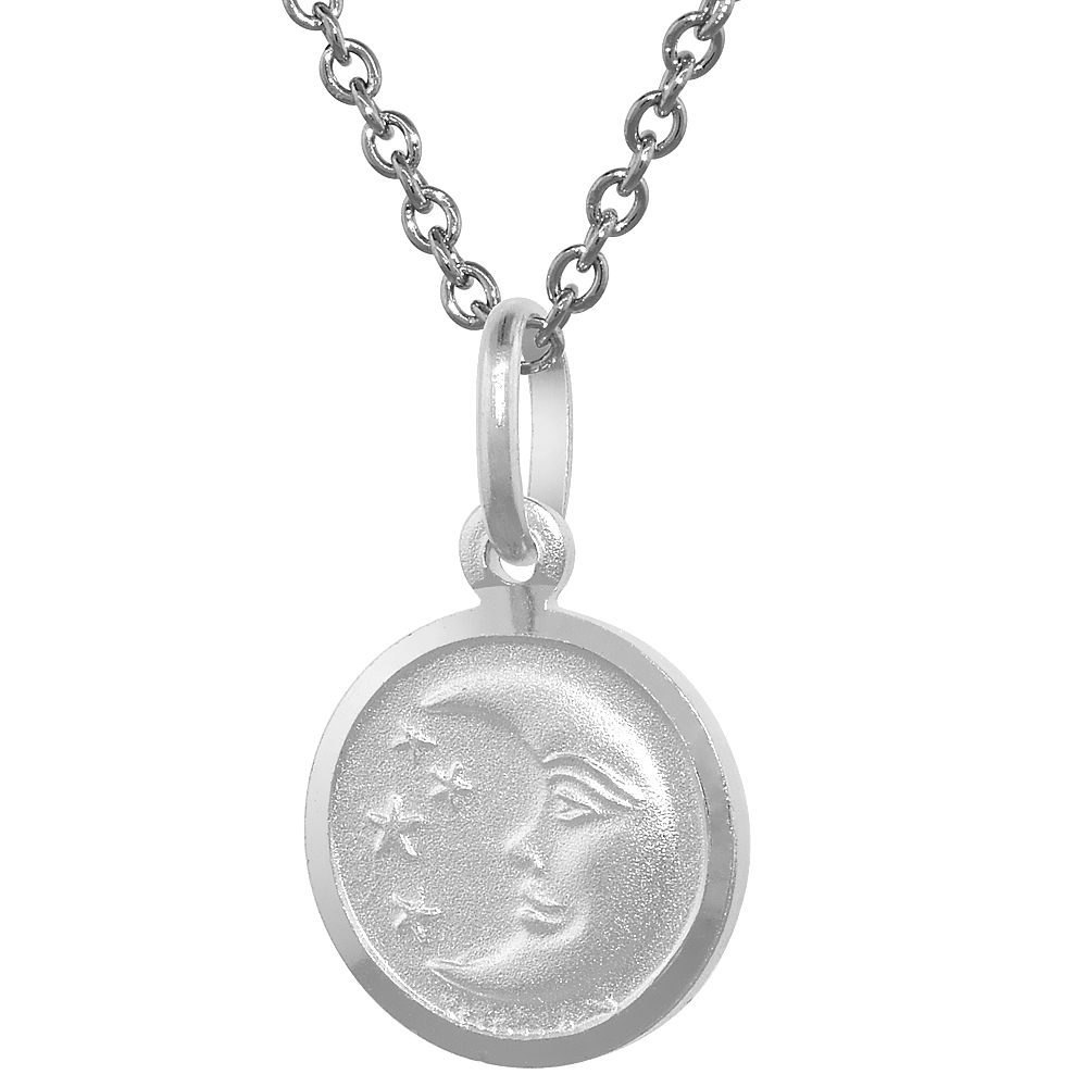 Sterling Silver Moon & Star Necklace Round with 24 inch Surgical Steel Chain Italy, 1/2 inch,