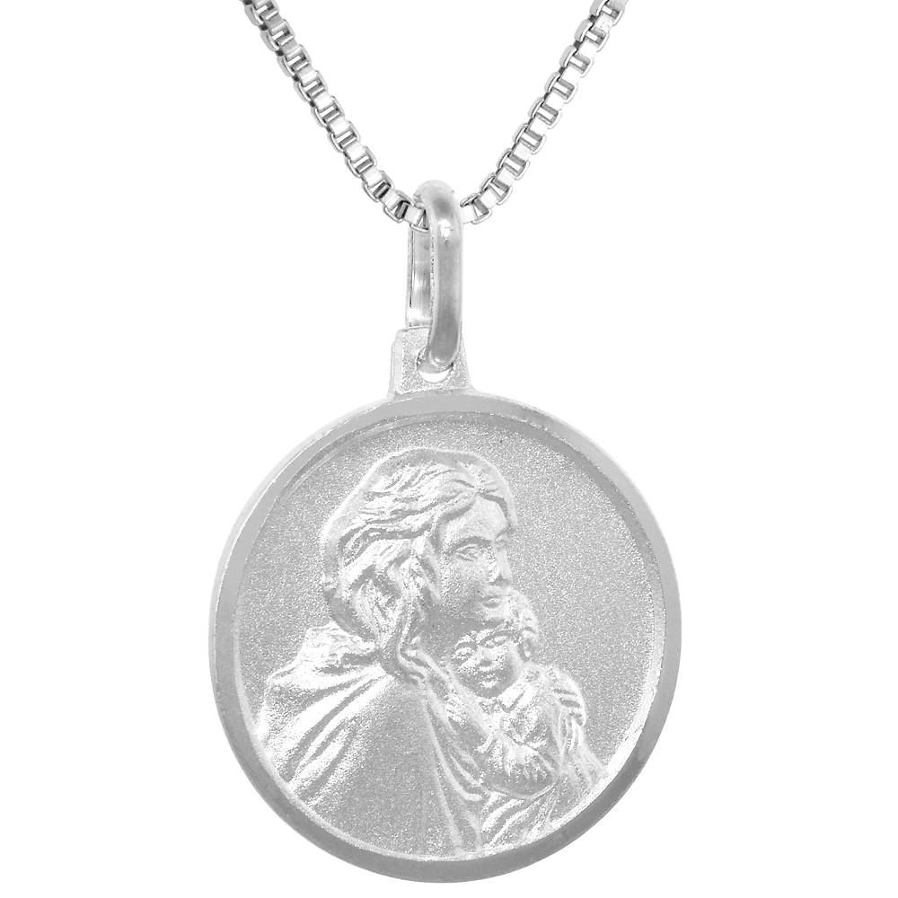 Sterling Silver Mother Mary Baby Jesus Medal Necklace 3/4 inch Round, 0.8mm Chain