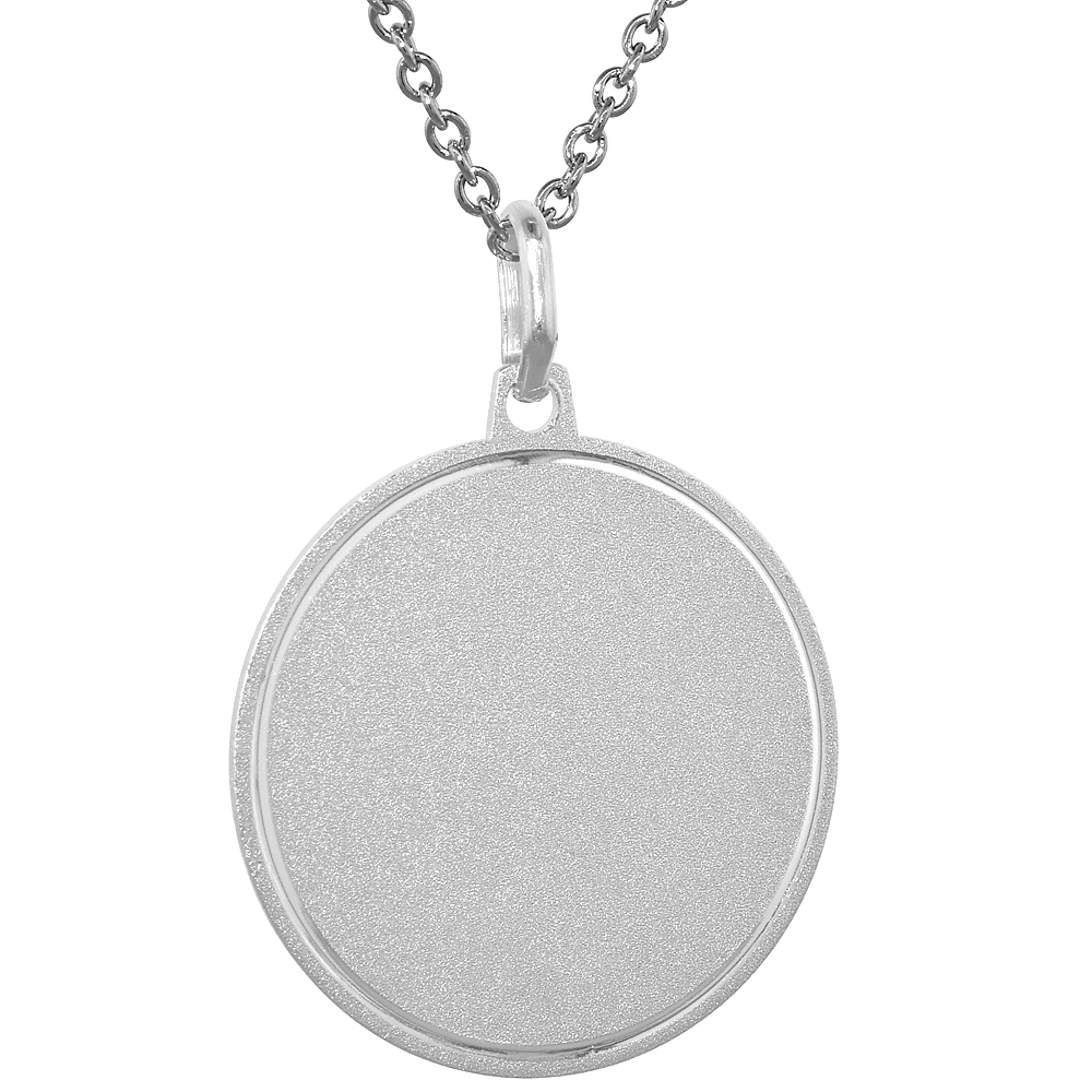 Sterling Silver Disk Pendant Round for Engraving with 24 inch Surgical Steel Chain Italy, 1 inch,