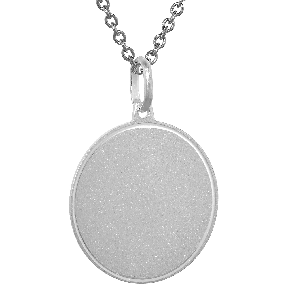 Sterling Silver Disk Pendant Round for Engraving with 24 inch Surgical Steel Chain Italy, 7/8 inch,