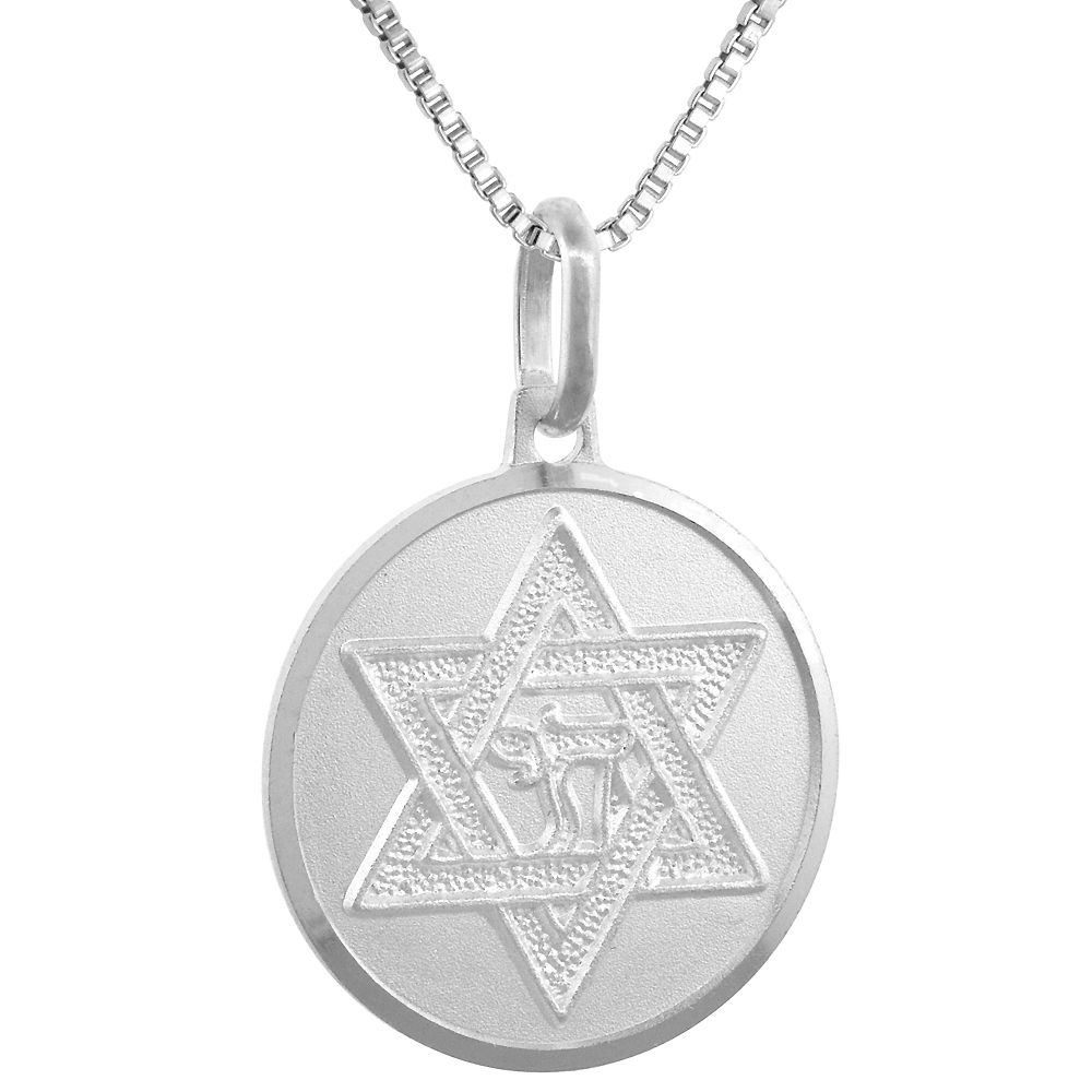 Sterling Silver Star of David Medal Necklace 3/4 inch Round Italy, 0.8mm Chain