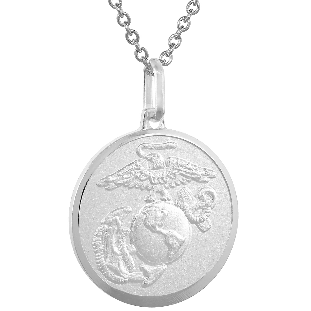 Sterling Silver Eagle Globe and Anchor Necklace EGA with 24 inch Surgical Steel Chain Italy, 7/8 inch Round,