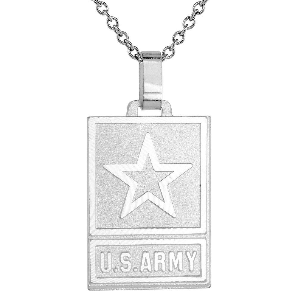 Sterling Silver US ARMY Necklace with 24 inch Surgical Steel Chain Italy, 1 1/4 inch,