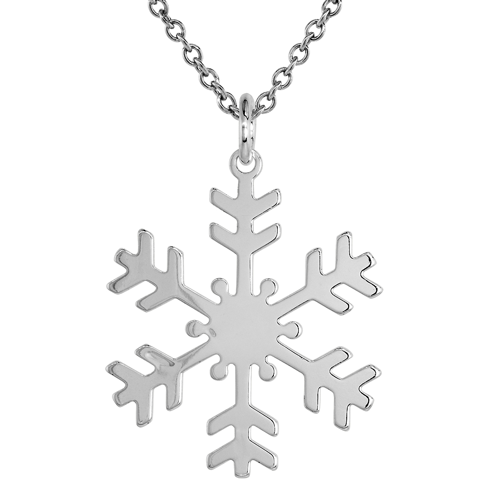 Sterling Silver Snowflake Necklace with 24 inch Surgical Steel Chain Italy, 1 1/4 inch,