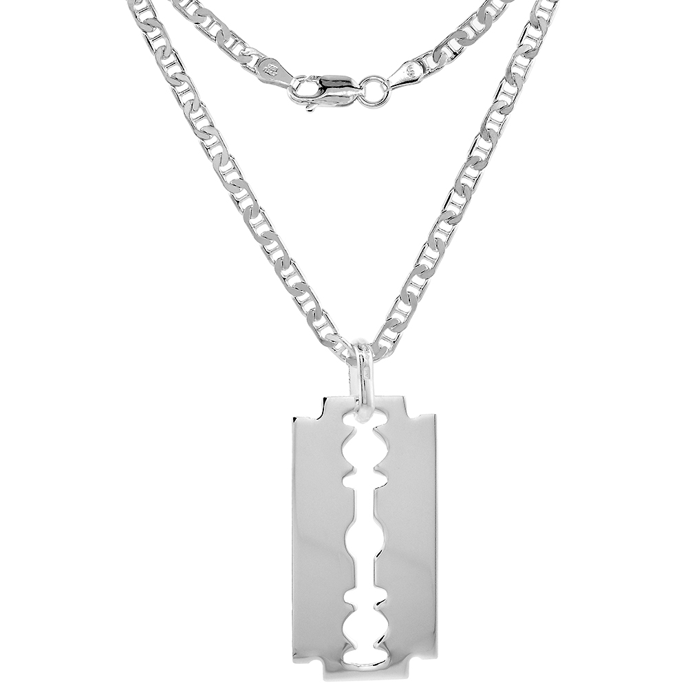 Sterling Silver Razor Blade Necklace Italy 1 1/2 inch, 16-24 inch