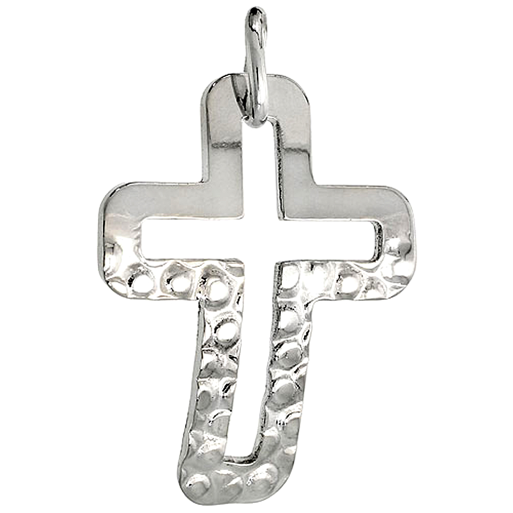 Sterling Silver Cross Necklace with 24 inch Surgical Steel Chain Italy, 1 1/16 inch